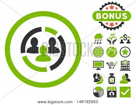 Demography Diagram icon with bonus symbols. Vector illustration style is flat iconic bicolor symbols, eco green and gray colors, white background.