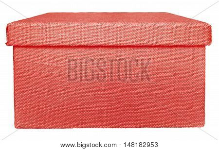 Closed red box wrapped by burlap canvas isolated on a white background. Clipping path included.