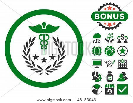 Caduceus Logo icon with bonus pictures. Vector illustration style is flat iconic bicolor symbols, green and gray colors, white background.