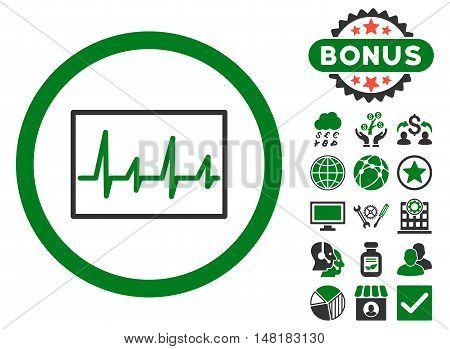 Cardiogram icon with bonus design elements. Vector illustration style is flat iconic bicolor symbols, green and gray colors, white background.