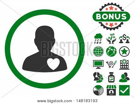 Cardiology Patient icon with bonus pictogram. Vector illustration style is flat iconic bicolor symbols, green and gray colors, white background.