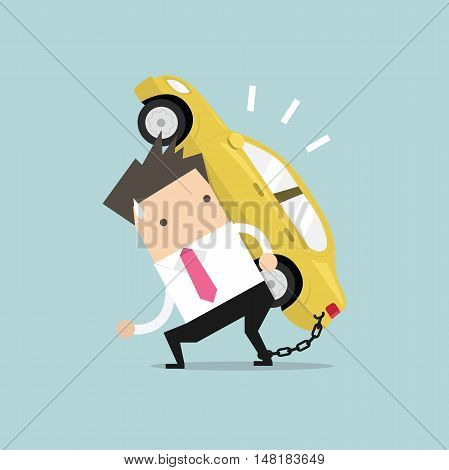 Businessman carry his car debt with chained on ankle. Financial concept vector.
