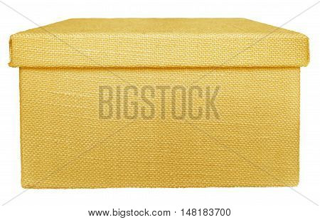 Closed yellow box wrapped by burlap canvas isolated on a white background. Clipping path included.