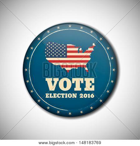 Vote Election Campaign Badge Button. Retro Or Vintage Style.