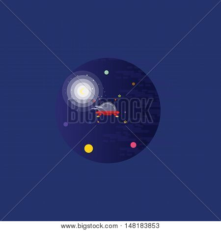 Ufo at the night landscape vector art outline
