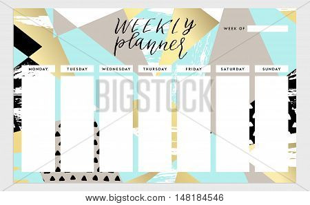 Weekly planner template. Organizer and schedule. Vector isolated illustration. Cute and trendy