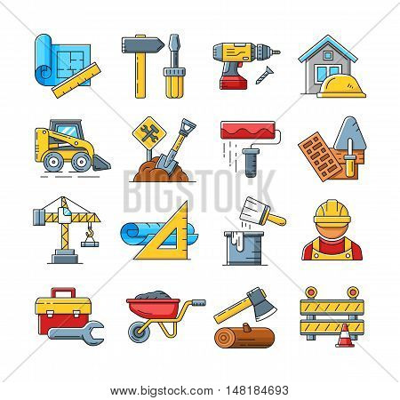 Construction icons or home repair tools signs in flat outline style. Concept construction icons set and illustration of construction process