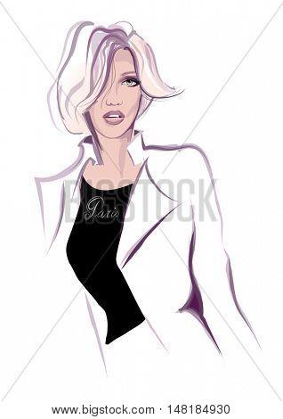 fashion woman model - vector illustration