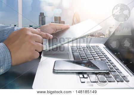 Designer Working Digital Tablet And Computer Laptop And Digital