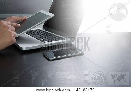 Designer Working Digital Tablet And Computer Laptop