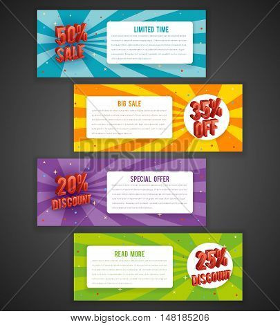 Discount flyer or sale brochure designs. Special offer banners with percent off. Vector set of brochure with discount, illustration flyer discount