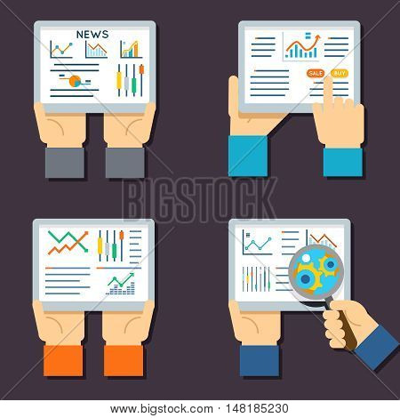 Stock exchange business technology. Internet trading and investment flat vector icons. Stock investment finance and illustration with data about stock exchange