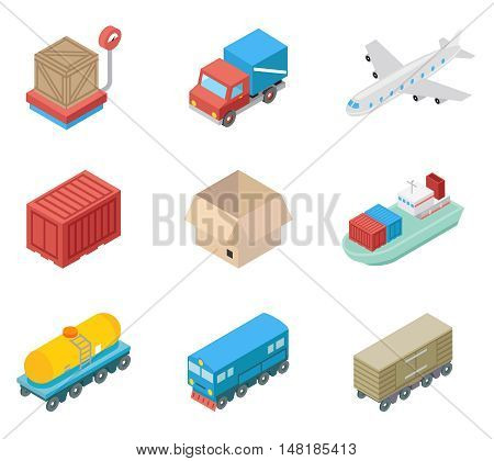 Isometric cargo transportation and logistic icons. Logistic and transportation, illustration sea and air transportation