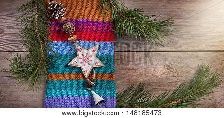 Christmas tree decoration snowflake wooden texture background woolen warm wear  texture new year