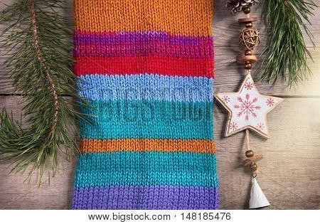 Christmas tree decoration snowflake wooden texture background woolen warm wear new year