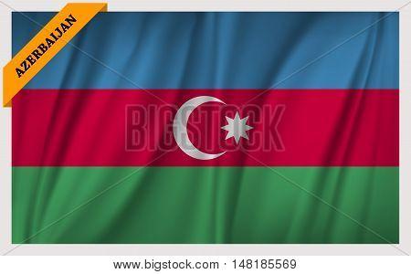 National flag of Republic of Azerbaijan - waving edition