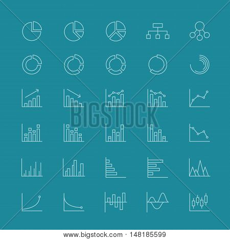 Line business charts and linear financial diagrams icons. Diagram and chart for business statistic, information and data chart for report. Vector illustration