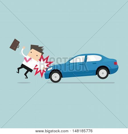 Businessman about to be hit by a car, Road Safety. vector