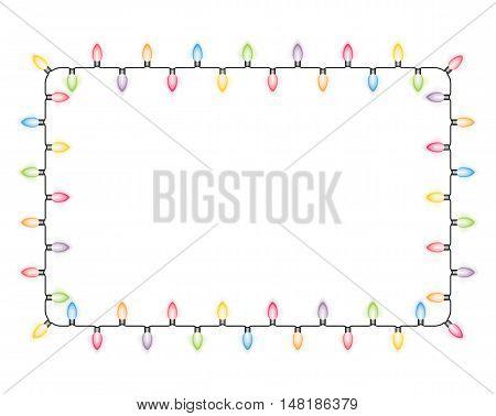 Frame made of colored Christmas lights, vector eps10 illustration