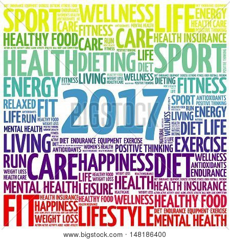 2017 Word Cloud Collage, Health Concept