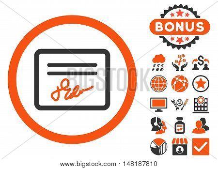 Agreement icon with bonus symbols. Vector illustration style is flat iconic bicolor symbols, orange and gray colors, white background.