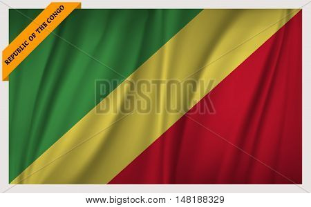 National flag of Republic of the Congo - waving edition