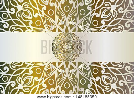 beautiful unusual background with iridescent yellow, brown and green colors. Circular floral ornament. Hand drawn vector stock illustration