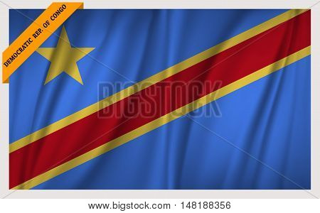 National flag of Democratic Republic of the Congo - waving edition