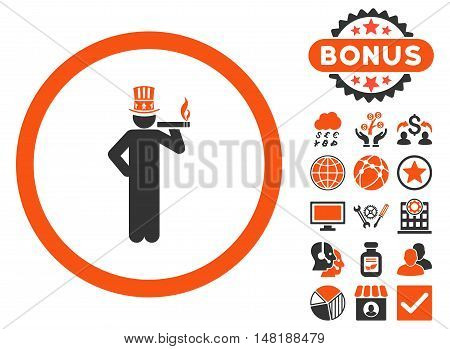 American Capitalist icon with bonus symbols. Vector illustration style is flat iconic bicolor symbols, orange and gray colors, white background.