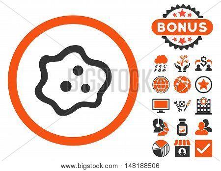 Amoeba icon with bonus images. Vector illustration style is flat iconic bicolor symbols, orange and gray colors, white background.