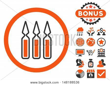 Ampoules icon with bonus pictogram. Vector illustration style is flat iconic bicolor symbols, orange and gray colors, white background.
