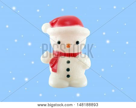 snowman lamp isolated on blue background, plastic lamp snowman-shaped decoration Christmas season