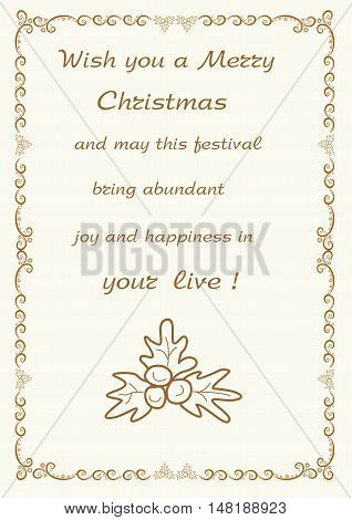 Christmas greetings frame background editable and scaleable vector illustration