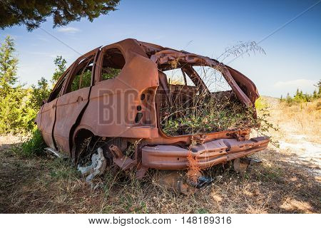 Abandoned Rusted Car Body With Growing Grass