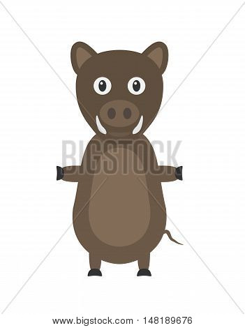 Funny Wild Boar Character