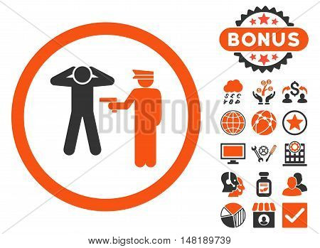 Arrest icon with bonus elements. Vector illustration style is flat iconic bicolor symbols, orange and gray colors, white background.