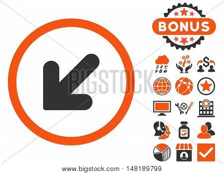 Arrow Down Left icon with bonus pictures. Vector illustration style is flat iconic bicolor symbols, orange and gray colors, white background.