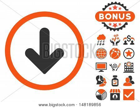 Arrow Down icon with bonus pictures. Vector illustration style is flat iconic bicolor symbols, orange and gray colors, white background.