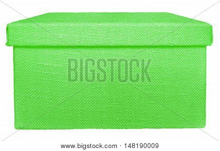 Closed green box wrapped by burlap canvas isolated on a white background. Clipping path included.