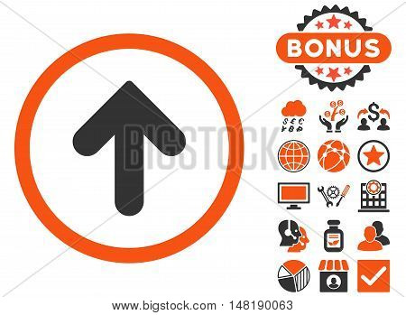 Arrow Up icon with bonus symbols. Vector illustration style is flat iconic bicolor symbols, orange and gray colors, white background.