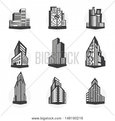 Set of black high-rise buildings and facades of buildings. Collection of modern city buildings. Real estate icons. Urban architecture in flat style. Vector illustration isolated on white background.