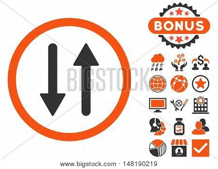 Arrows Exchange Vertical icon with bonus images. Vector illustration style is flat iconic bicolor symbols, orange and gray colors, white background.