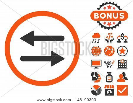 Arrows Exchange icon with bonus pictogram. Vector illustration style is flat iconic bicolor symbols, orange and gray colors, white background.