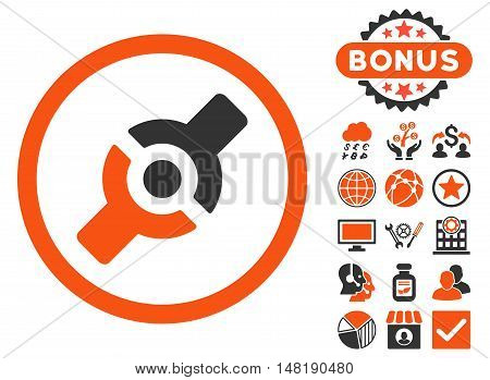 Artificial Joint icon with bonus pictogram. Vector illustration style is flat iconic bicolor symbols, orange and gray colors, white background.