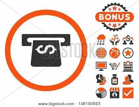 Atm icon with bonus symbols. Vector illustration style is flat iconic bicolor symbols, orange and gray colors, white background.