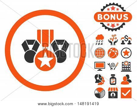Awards icon with bonus design elements. Vector illustration style is flat iconic bicolor symbols, orange and gray colors, white background.