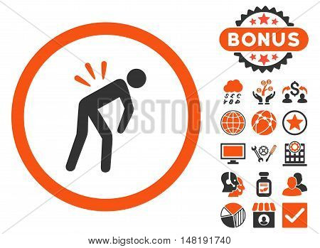 Backache icon with bonus elements. Vector illustration style is flat iconic bicolor symbols, orange and gray colors, white background.