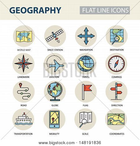 Set of modern linear icons with geography elements. Vector colored logos for design.