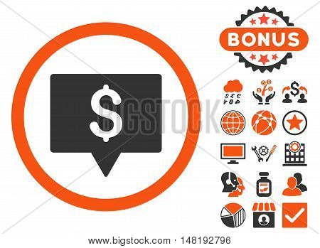 Bank Map Pointer icon with bonus symbols. Vector illustration style is flat iconic bicolor symbols, orange and gray colors, white background.