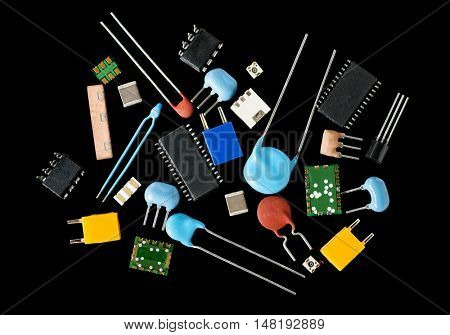 electronics components, black background